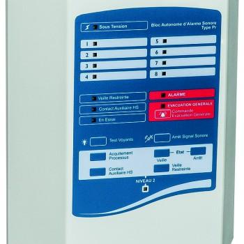 Alarme incendie type 2b, catégories C,D,E : Bloc Autonome d'Alarme Sonore Principal (type Pr) 2, 4 ou 8 boucles